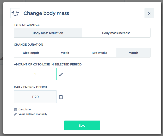 Change body mass